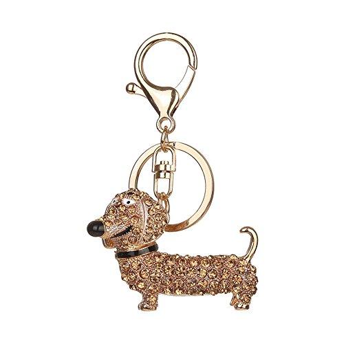 Preisvergleich Produktbild Kristallrhinestone-Schlüsselring, Chickwin Art und Weise nette Hund eschlüsselring-Handtaschen Keychain Geschenk-Schlüsselketten (Champagner)
