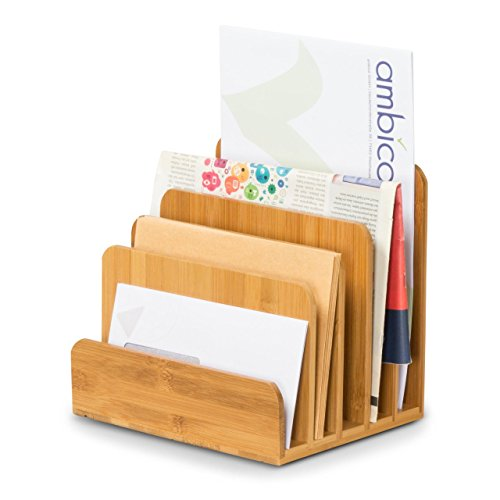 Zeitschriftenständer NOEL - Zeitschriftenhalter - Briefablage aus Bambus - Schreibtisch Organizer - Maße 40x17x33 cm - Premium Zeitungständer