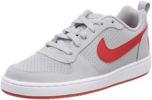 Nike Unisex-Kinder Court Borough Low (GS) Basketballschuhe, Grau (Wolf Grey/University Red-White 003), 38.5 EU