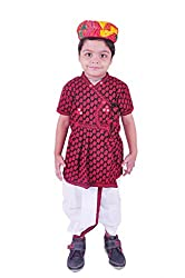 RTD Traditional Ethnic Fashion Red White Kids Boy Safa Angrakha Dhoti Dress