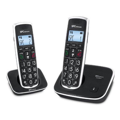 Spc Telecom TEL317609 - Teléfono fijo con tecladas grandes, color negro