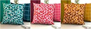 "COZY FURNISH Quilted Cotton Cushion Covers Set of 6 Printed Cushion Covers (24"" Inch x 24"" inch)"