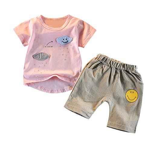 Cuteelf Kinder Kurzarm Cartoon Wolke weiß Wolke Shirt + Smiley-Shorts Zweiteilige Kinderbekleidung Jungen Cartoon Kurzarm T-Shirt Shirt Shorts Kleidung Anzug -