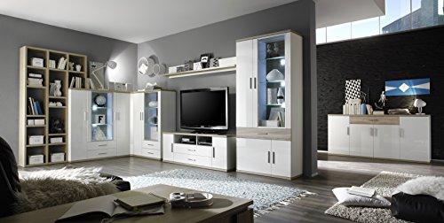 trendteam AR Wohnwand Wohnkombination Anbauwand | Weiß | Eiche Sägerau Hell | 425 x 199 cm | Inkl. LED Beleuchtung - 10