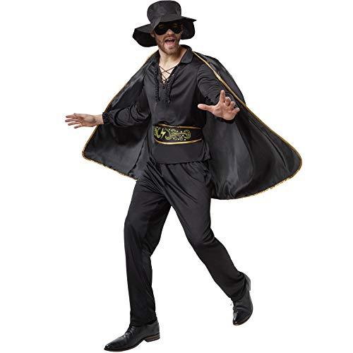 Kostüm Bankräuber Frau - dressforfun 900531 - Herrenkostüm Zorro, In Schwarz gehaltenes Zorro-Outfit inkl. Cape, Maske und Hut (XXL | Nr. 302664)