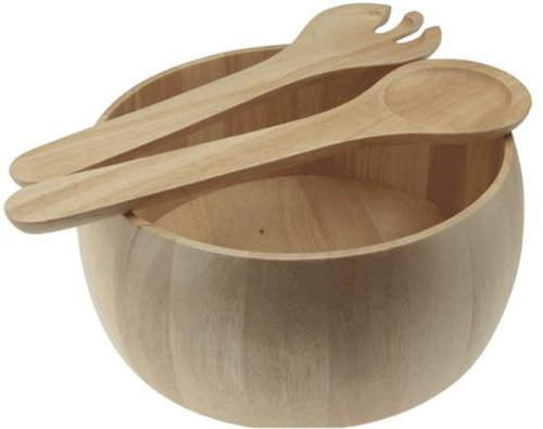 Large Hevea wooden Salad bowl and 2 servers ,Ecological Rubberwood Salad Bowl by Apollo