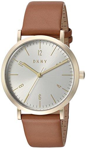 DKNY Femme 'Minetta' à quartz en acier inoxydable et cuir décontractée montre, couleur: marron (modèle: Ny2613)
