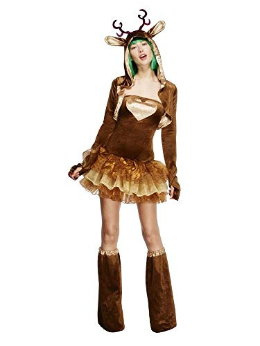 shoperama Sexy Rentier Damen-Kostüm Kleid Tutu Jacke Stulpen Kapuze Ohren Tier Hirsch REH Weihnachten X-Mas Märchen Karneval, Größe:M