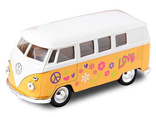 VW Bulli Hippie Flower Power Bus 12 cm Modellauto 1963 Volkswagen 1:34 T1 Modell Bully (56/0044 VW Bus Flower gelb