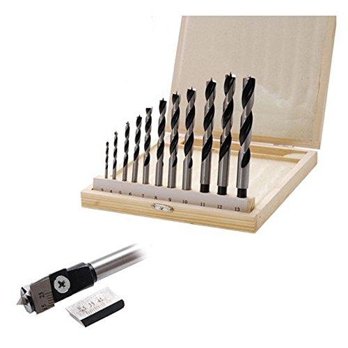 Preisvergleich Produktbild BGS Holzbohrer Zentrumbohrer 13-tlg Spiralbohrer Zentrumbohrer Holzspiralbohrer Fräsbohrer