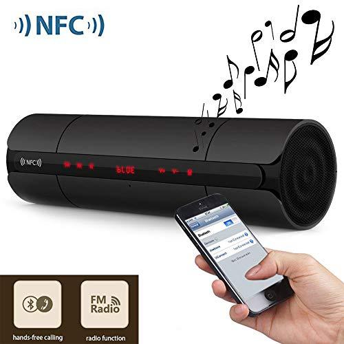 Mengen88 Tragbarer kabelloser Lautsprecher, Bluetooth 3.0 NFC-Multifunktions-LED-Bildschirm 3D-Surround-Sound-Subwoofer mit Unterstützung für FM-Radio-Breakpoint-Memory-Wiedergabe - Fm-booster