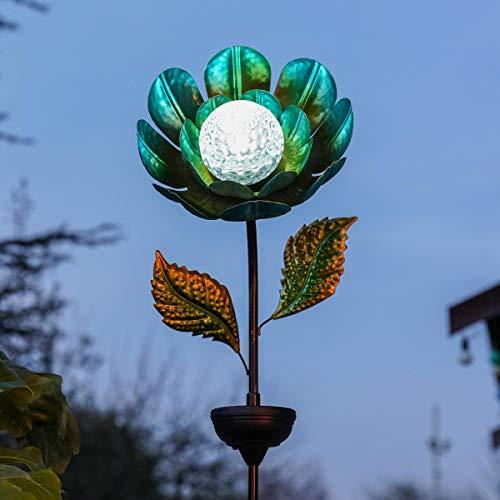 Festliche Lichter, drehbarer Kaleidoskoppf, solarbetrieben, Außenlampe, wasserfest, Gartenbeleuchtung (Blume), Blau (Blaue Blume-lichter)