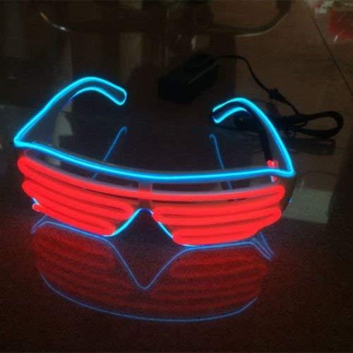 Sxspace 2 Bicolor EL Wire Leuchtbrille Leuchten LED Shutter Shade Brille Fun Konzert + Soundsteuerung Box für Masquerade Party, Nacht Pub,Bar Klub Rave,70er 80er 90er Kostüm (Rot + Hellblau)