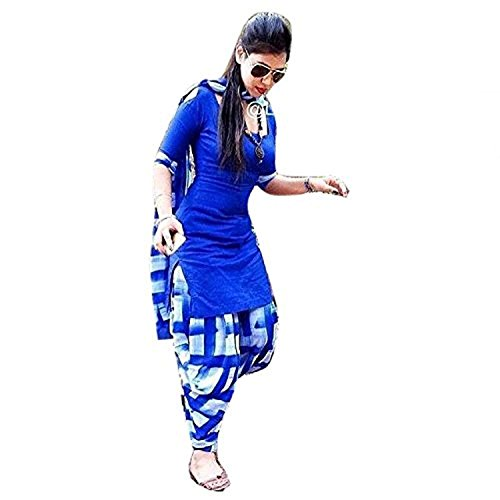 Flywing Fashion Women\'s Cotton Salwar Suit (Dress Material lubhavna1010_Blue_Free Size, Un-Stitched)