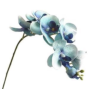 ypypiaol Artificial Mariposa orquídea Flor Falsa Bricolaje decoración del Banquete de Boda Pieza Central – 1 Pieza 7 Cabezas Azul