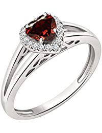 Silvernshine 7mm Heart Cut Garnet & Sim Diamond Halo Engagement Ring In 14K White Gold Plated