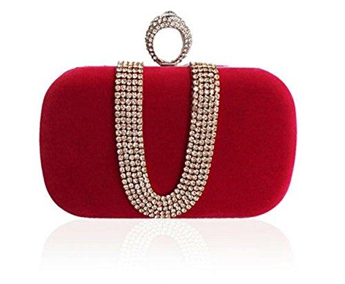 729413ec8f5321 sallyshiny Damen Luxus-Samt Strass Handtasche Shell Box Abend Clutch Party  Ball Hochzeit Staubbeutel Rot