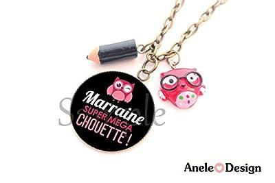 Collier Marraine - Marraine Super Mega Chouette! - noir rose crayon noir cabochon cadeau