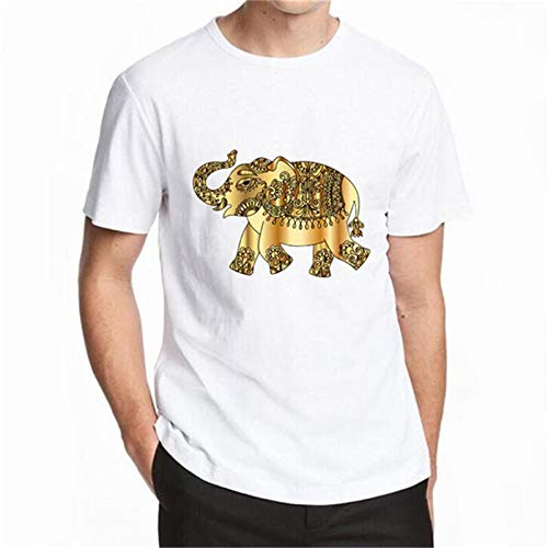 Tops Tees Verano 100% Algodón Animal Blanco Elefante Impresa En 3D Camiseta De Los Hombres De La Marca Casual Manga Corta Camiseta De Los Hombres M-XXXXL