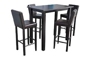4x barhocker mit bartisch set essgruppe stehtisch for Barhocker dunkelbraun