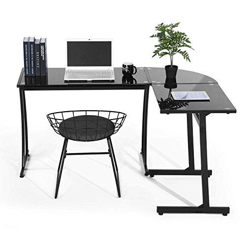 Coavas Computer Schreibtisch L-förmiges Schwarz Glas Eckschreibtisch Großer PC Computerspiel-Schreibtisch Lehrtisch Bürotisch Home, Schwarz