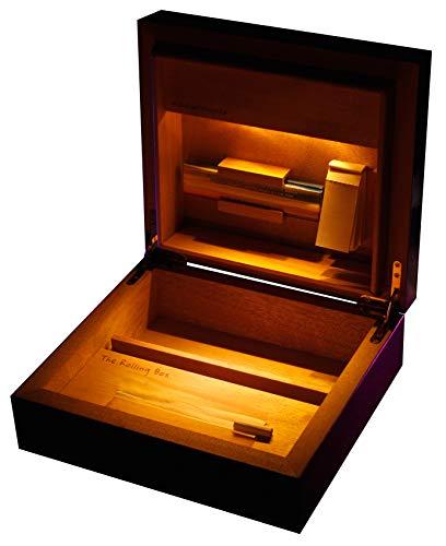 The Rolling Box Regia 210 Drehkiste mit Licht; Beleuchteter Humidor, Jointbox mit LED