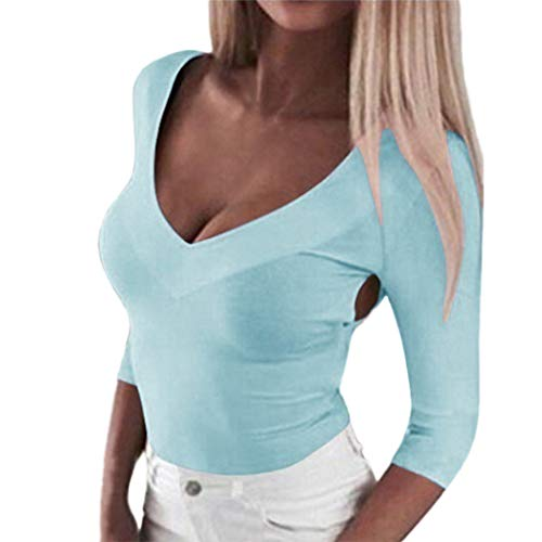 Daisy Langarm-shirt (SEWORLD Camisole Bluse Elegant Kleid Damen Bauchfreier Mädchen Tops Freizeit Solide Langarm Criss Cross Rückenfreie Bluse Shirt Pullover Tops(Hellblau,EU-38/CN-L))
