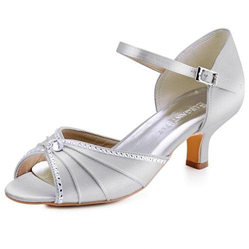 ElegantPark HP1623 Peep Zehen Sandalen Bequem Absatz Ankle Strap Satin Hochzeit Brautschuhe Silber Gr.40 Ankle Strap Peep Toe Sandalen