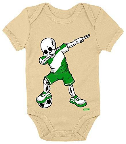 HARIZ Baby Body Kurzarm Fussball Dab Skelett Nigeria Land Trikot Inkl. Geschenk Karte Marschmallow Gelb 6-12 Monate -