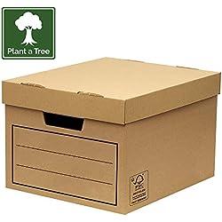 Bankers Box 00154 Paquet de 10 Caisses de Rangement multi-usage standard/boîte d'archives avec couvercle Marron