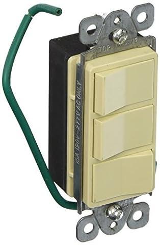 Morris 81970 Commercial Grade Decorative Triple Rocker Switch, 15 Amp Current, 120V/277V, Ivory by Morris