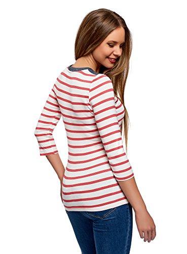 oodji Ultra Damen Henley-T-Shirt mit Streifen Rot (4310S)