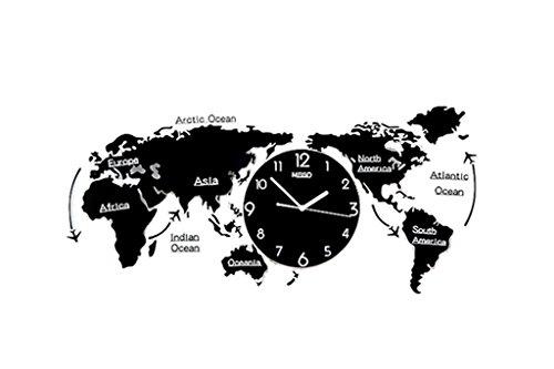 Lizhang Dekoration Wanduhr, Startseite - Weltkarte Modellierung Uhren, Wohnzimmer Schlafzimmer Restaurant Bar Coffee Shop, Kreative Wanduhr groß, (74-120cm) (Farbe : A-120*55CM)