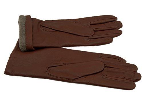 Tan-100% Kaschmir (Grandoe Damen Handschuh Melody aus Schaffell-Leder, warmes Kaschmir gefüttert, 3 BTN Länge, Damen, British Tan, Medium)