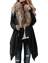 Herbst und Winter Damen Strickjacke Mode Langarm Mantel mit Fell Lässige  Plüsch Oberteile Coat Freizeit Warm 958fb47f85