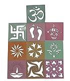 #9: Avneesh Rangoli Stencil for Floor 4x4 inch (Set of - 10 Design)