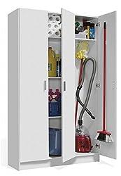 Tall White 3 Door Utility Universal Storage Cupboard White Armario 3p