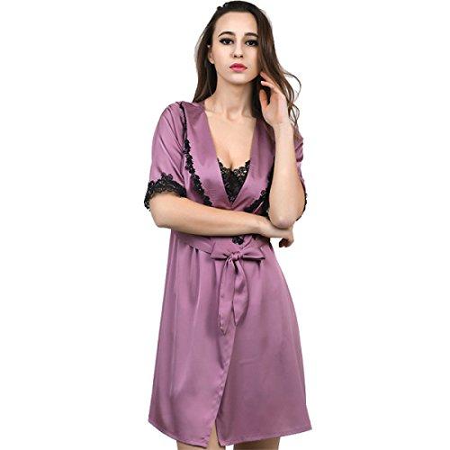 tion Silk Pyjamas Cardigan Schlaf Sleeve Sling Schlafrock Set Stickerei Herbst Winter Haushalt Service,Purple-XXL ()