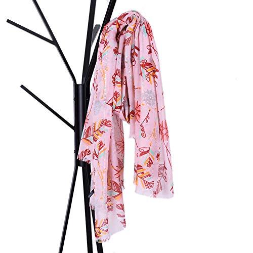 Xiaochou@sl Vier Jahreszeiten Schal Neue großformatige Pailletten Balinesisches Garn Pumpschal Feder Druck Elegante große Größe Schal Multifunktions Frauen orientiert (Color : Pink) -