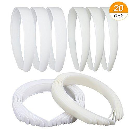 Homgaty 20 Stück breiten Kunststoff Haar Headbands 1 Zoll, Haarreif mit Zähnen für Frauen Mädchen DIY Basteln, unifarbene Haarbänder Headwears (10 Elfenbeinfarben und 10 weiß)
