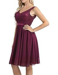 552c81e69 Freebily Vestido Elegante de Boda Fiesta Cóctel para Mujer Dama de Honor  Vestido Plisado Traje de