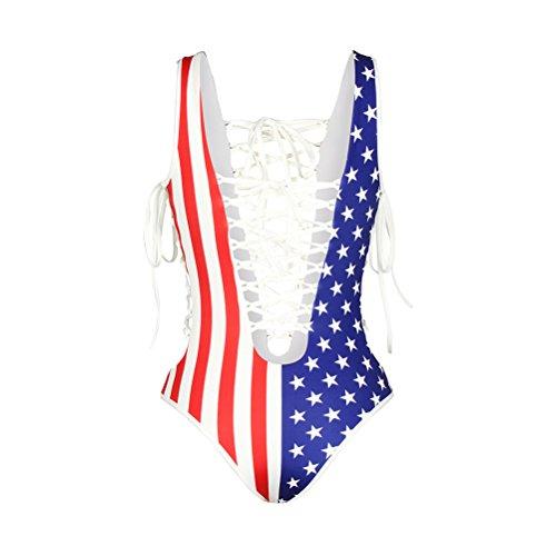 Frauen reizvoller US-Flagge Druck Backless einteiliger Bikini-Badebekleidungs-Badeanzug-Badeanzug A