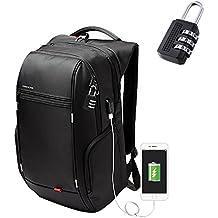 INKERSCOOP Mochilas para Portátiles Hasta 17 pulgadas Backpack Impermeable Para el Laptop Mochila de Negocio Mochila Escolar con Cerradura para Negocios / Viajes / Escuela (Negro, con Puerto de Carga USB) Viene con un Bloqueo de Contraseña