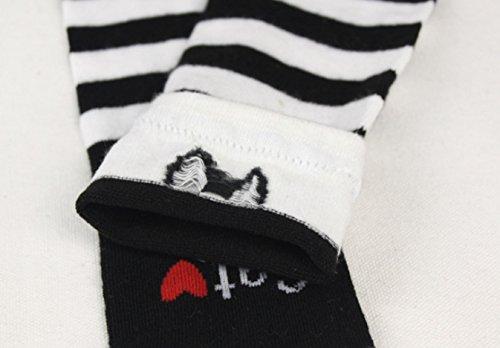 WeiMay Calcetines hasta la rodilla para niños y niñas, antideslizantes, diseño de gatos, color blanco y negro 4