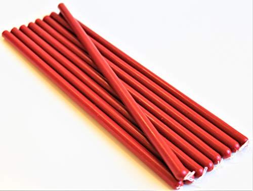 10 rote dünne Kerzen Bienenwachskerzen Tafelkerzen 100% Bienenwachs Handarbeit Honigkerzen Weihnachtskerzen Adventskerzen Ritualkerzen Opferkerzen Magiekerzen (rot, 26 x 1 cm)