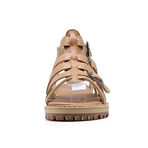 TAOFFEN Femmes Chaussures Mode Slingbacks Gladiateur Sandales De Boucle Abricot