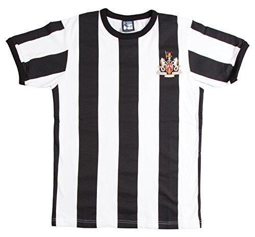 Old School Football - Newcastle United 1960s Fußball T-Shirt Trikot Kurze Ärmel - Schwarz/weiß, X-Large