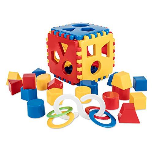 Mimtom Formensortierer Steckwürfel | Steckbox Babyspielwürfel mit 18 Sortierblöcken und Kinderrassel hergestellt in der EU| Lernspielzeug für Kinder von 1-3 Jahren - rot, blau & gelb