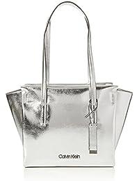 Calvin Klein Jeans - Frame Medium Shopper M, Bolsos totes Mujer, Plateado (Metallic), 14x30x44 cm (B x H T)