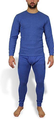 Wärmende Herren Thermounterwäsche - Thermohemd und Thermohose - Ski- und Sport Unterwäsche Farbe Jeansblau Größe L